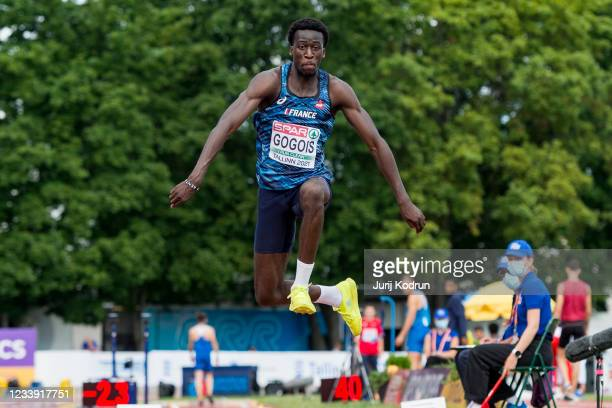 Anaelle Thomas Gogois of France competes in the men's triple jump final on day four of the 2021 European Athletics U23 Championships at Kadriorg...
