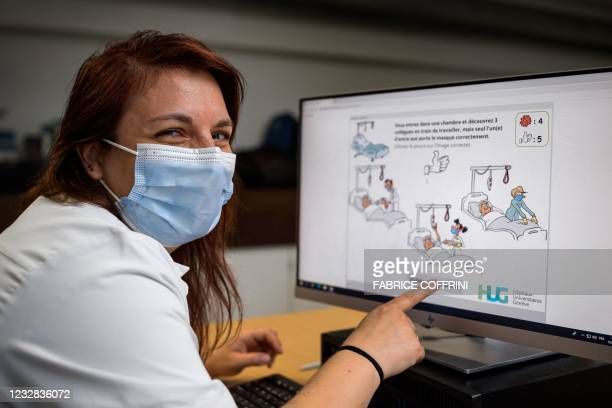 """Anaesthesiologist and IT enthusiast, Doctor Melanie Suppan presents the """"Escape Covid-19"""" computer game she helped brainstorm and develop at the..."""