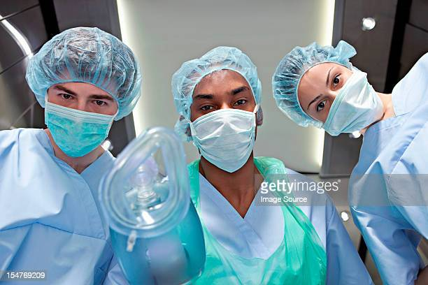 Anaesthetists with anaesthetic mask