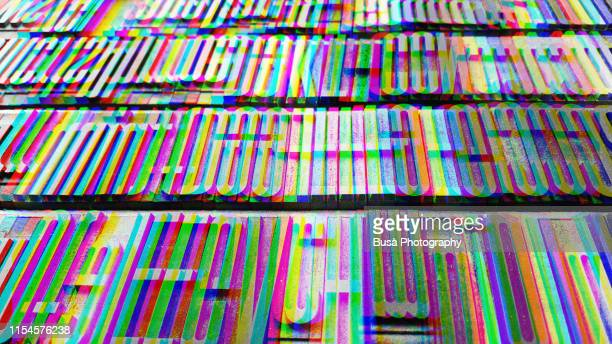 anaglyph image manipulation of typescript metal letters seen in a flea market - font ストックフォトと画像