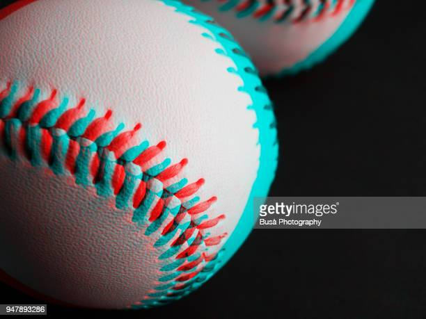 anaglyph image of a baseball ball - stereoscopic images stock photos and pictures