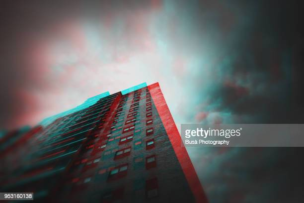 anaglyph image of summer storm and perspective of a public housing complex in harlem, new york city - stereoscopic images stock photos and pictures