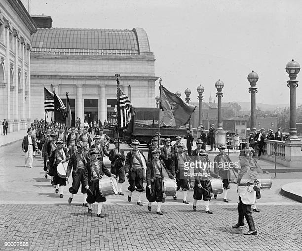 Anah Shriners Group from Bangor Maine as a Band arriving and Playing as Washington's Union Station