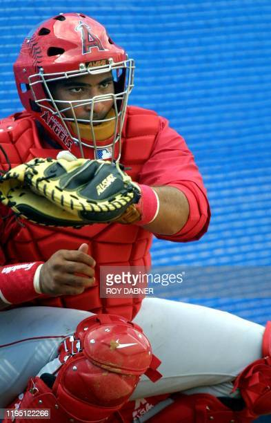 Anaheim Angels catcher Bengie Molina takes a few throws during the first day of spring training drills 15 February in Tempe Arizona AFP PHOTO/ROY...