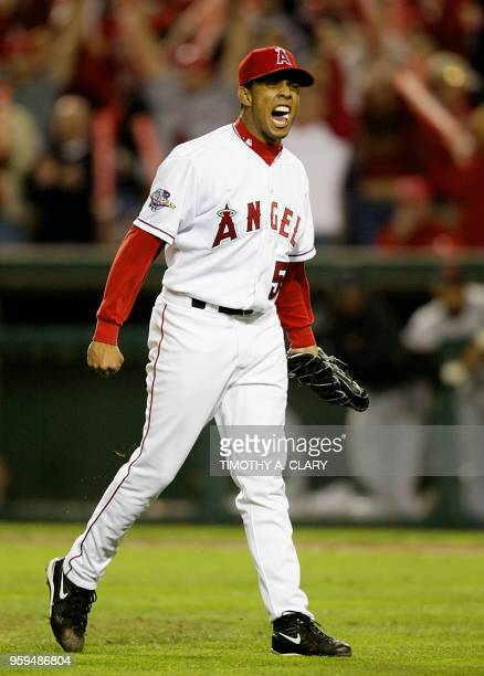 Anaheim Angels relief starting pitcher Fransisco Rodriguez celebrates at the end of the 8th inning in Game Seven of the World Series 27 October 2002...
