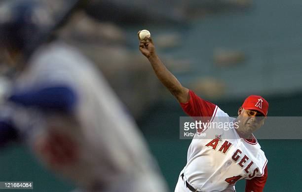 Anaheim Angels starter Kelvim Escobar pitches to Dave Roberts of the Los Angeles Dodgers in the first inning of interleague game at Angel Stadium on...