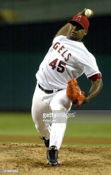 Anaheim Angels starter Kelvim Escobar struck out a careerhigh 12 in 10 loss to the Toronto Blue Jays at Angel Stadium in Anaheim California on...