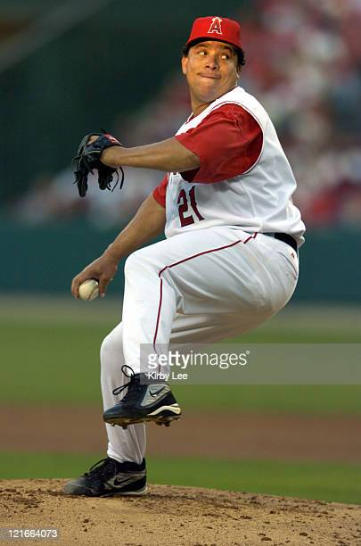 Anaheim Angels starting pitcher Bartolo Colon pitches in the first inning against the Los Angeles Dodgers at Angel Stadium on Saturday July 3 2004