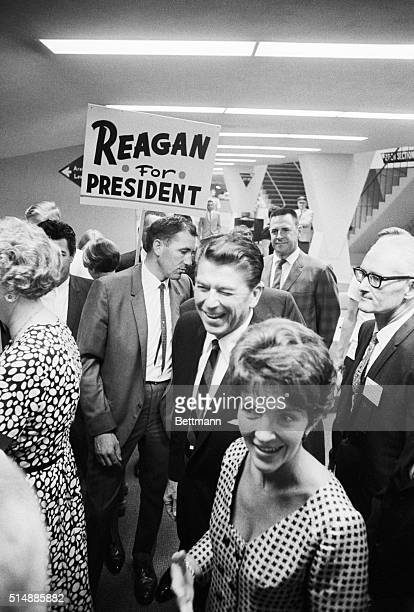 Anaheim, Calif.:California Governor and Mrs. Ronald Reagan arrive at the Anaheim Convention Center where the Governor spoke to the Republican State...