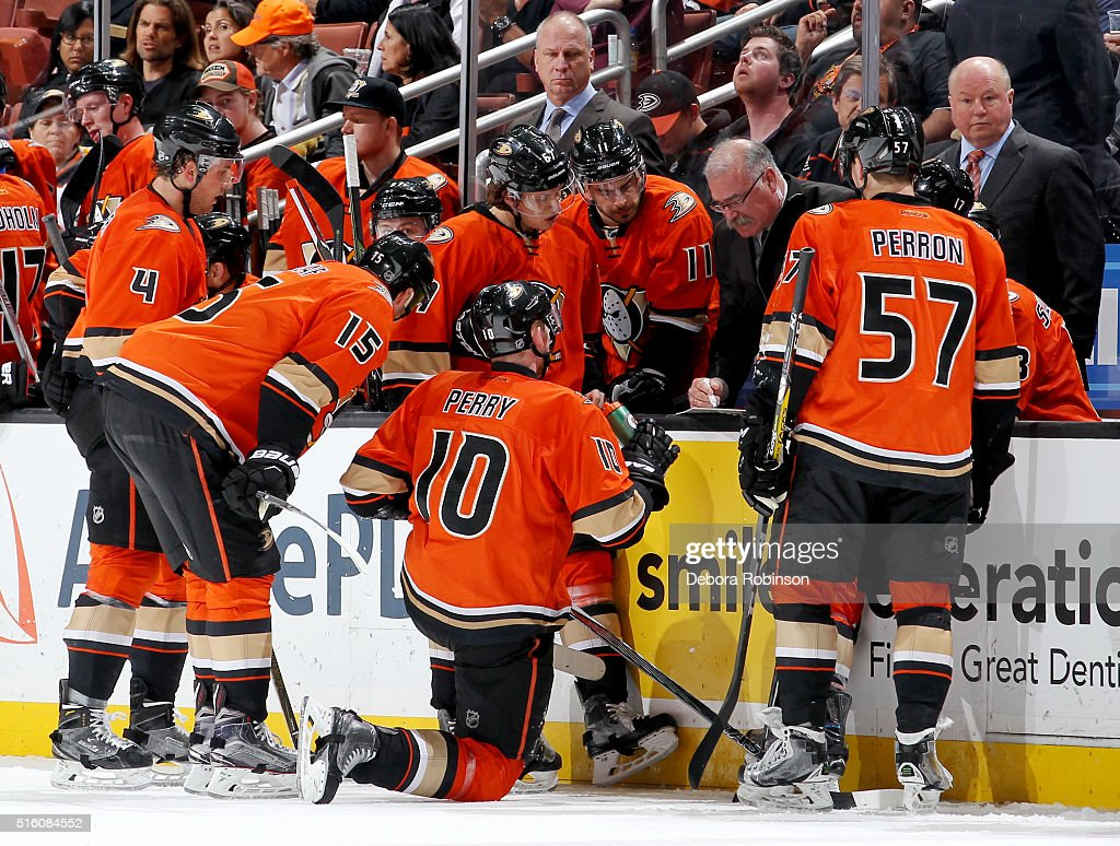 Anaheim Ducks assistant coach Paul MacLean talks with his players during a timeout in a game against the New York Rangers on March 16, 2016 at Honda Center in Anaheim, California.