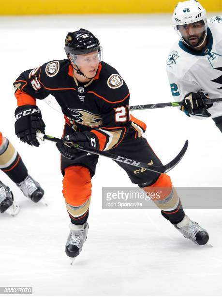 Anaheim Ducks center Chris Wagner in action during the second period of an NHL preseason game against the San Jose Sharks on September 28 played at...
