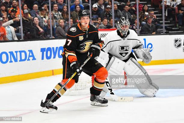 Anaheim Ducks center Rickard Rakell in front of Los Angeles Kings goalie Jack Campbell during a NHL preseason game between the Los Angeles Kings and...