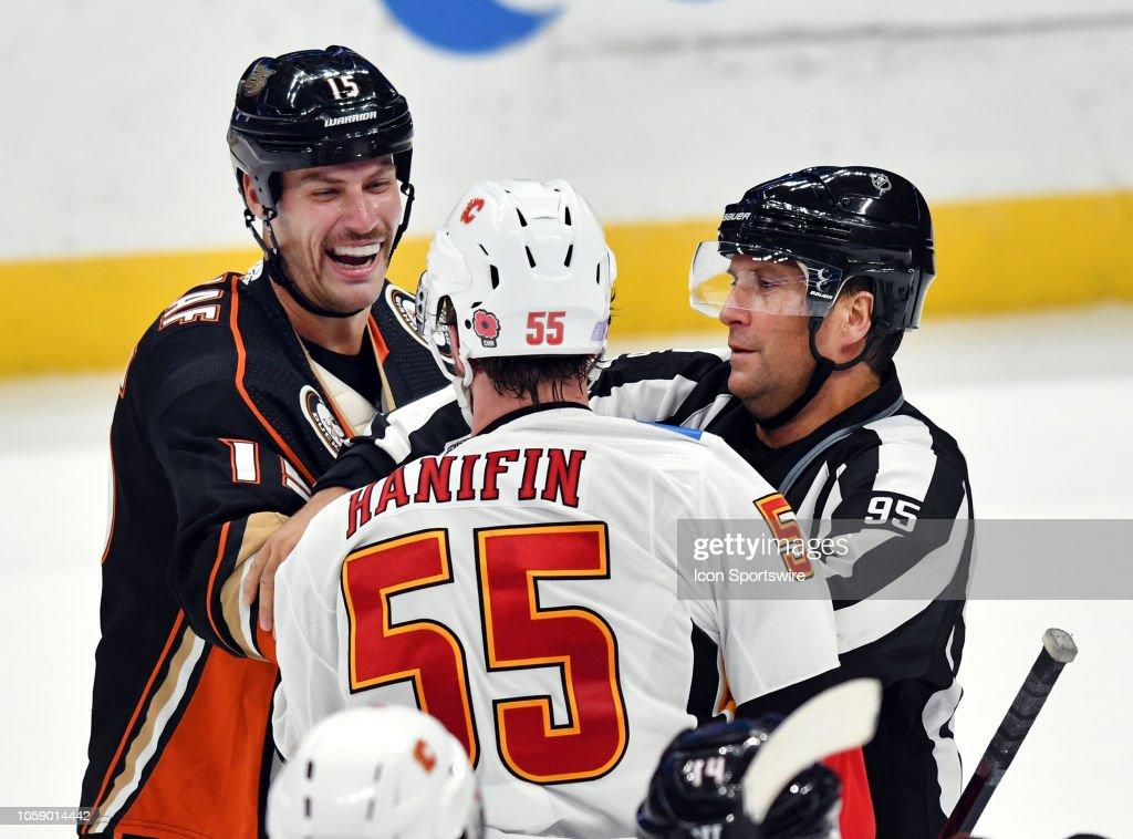 Anaheim Ducks center Ryan Getzlaf laughs after hitting