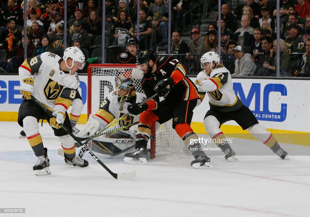 Anaheim Ducks center Ryan Kesler (17) drives the puck to the goal during the first period of a regular season NHL game between the Anaheim Ducks and the Vegas Golden Knights at T-Mobile Arena Monday, Feb. 19, 2018, in Las Vegas, Nevada. The Anaheim Ducks would defeat the Vegas Golden Knights 2-0.