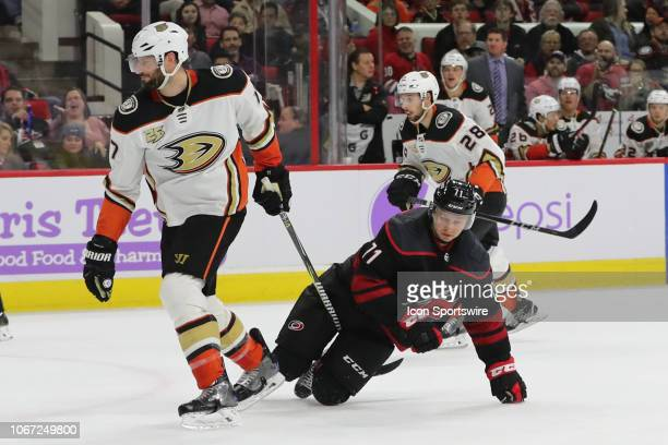 Anaheim Ducks center Ryan Kesler gets his stick stuck in Carolina Hurricanes center Lucas Wallmark skate during the 3rd period of the Carolina...