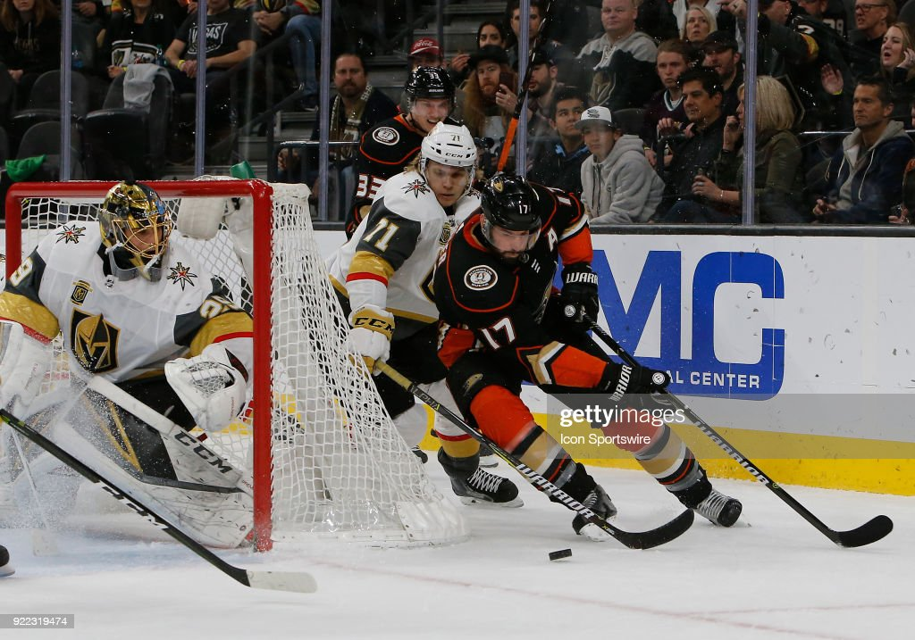 Anaheim Ducks center Ryan Kesler (17) moves the puck around the goal during the first period of a regular season NHL game between the Anaheim Ducks and the Vegas Golden Knights at T-Mobile Arena Monday, Feb. 19, 2018, in Las Vegas, Nevada. The Anaheim Ducks would defeat the Vegas Golden Knights 2-0.