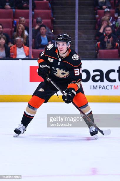 Anaheim Ducks center Sam Steel in action during a NHL preseason game between the Anaheim Ducks and the San Jose Sharks played on September 20 2018 at...