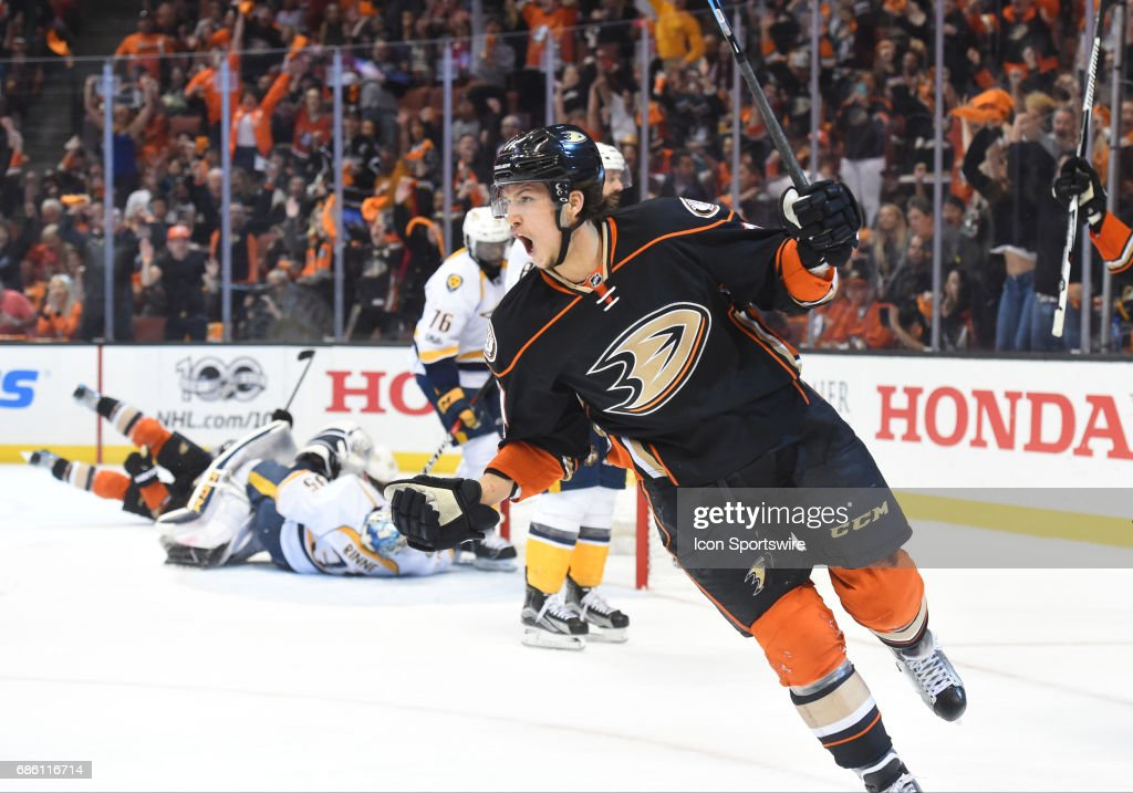 Anaheim Ducks Defenceman Brandon Montour (71) celebrates after the Ducks scored their first goal of the game in the second period during game 5 of the 2017 NHL Western Conference Final between the Nashville Predators and the Anaheim Ducks on May 20, 2017 at Honda Center in Anaheim, CA.