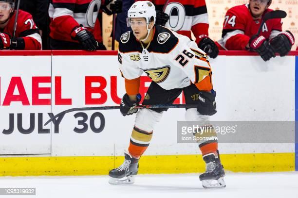 Anaheim Ducks Defenceman Brandon Montour waits for a faceoff during first period National Hockey League action between the Anaheim Ducks and Ottawa...