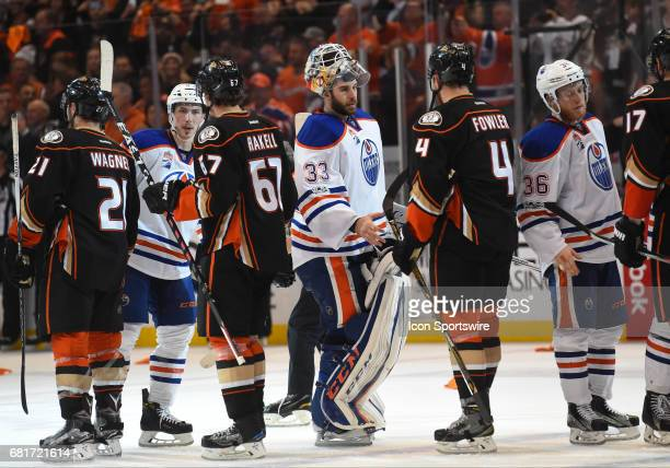 Anaheim Ducks Defenceman Cam Fowler shakes hands with Edmonton Oilers Goalie Cam Talbot during game 7 of the second round of the 2017 NHL Stanley Cup...