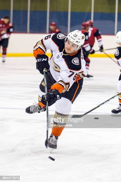 Anaheim Ducks defenseman Josh Mahura warms up before a preseason hockey game between the Anaheim Ducks and Arizona Coyotes on September 25 at Tucson...