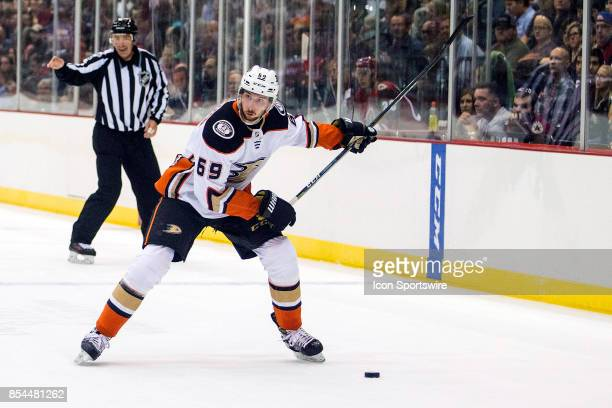 Anaheim Ducks defenseman Marcus Pettersson hits the puck during a preseason hockey game between the Anaheim Ducks and Arizona Coyotes on September 25...