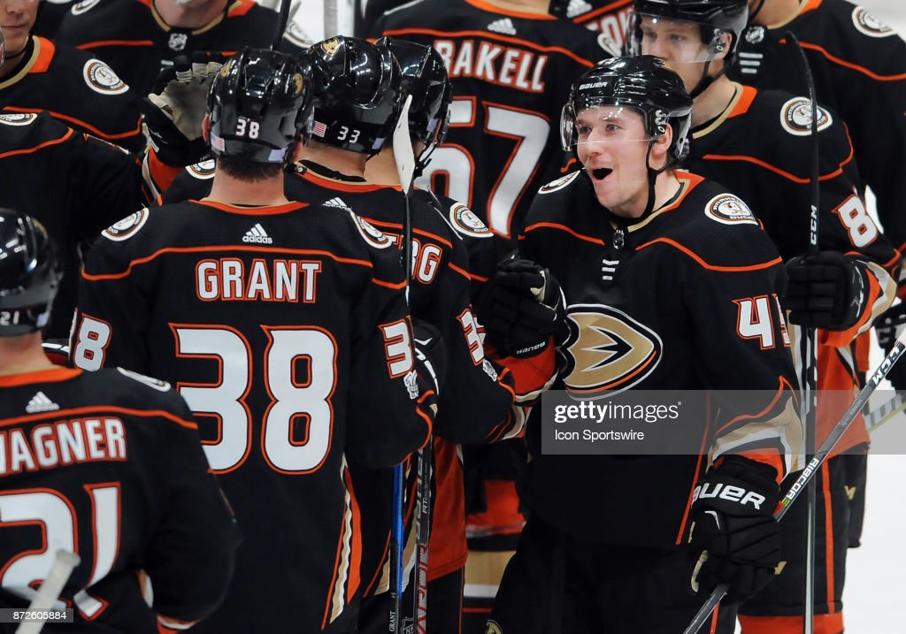 Anaheim Ducks defenseman Sami Vatanen (45) with his teammates on the ice after the Ducks defeated the Vancouver Canucks 4 to 1 in a game played on November 9, 2017 at the Honda Center in Anaheim, CA.