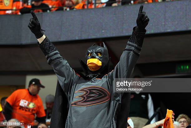 Anaheim Ducks fan cheers during the first period against the Calgary Flames in Game One of the Western Conference Semifinals during the 2015 NHL...