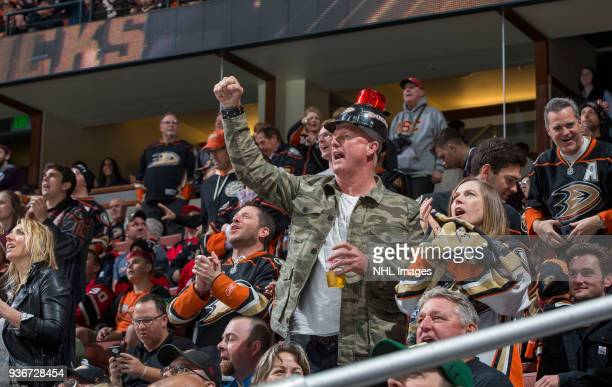 Anaheim Ducks fans celebrate a firstperiod goal during the game against the New Jersey Devils at Honda Center on March 18 2018 in Anaheim California