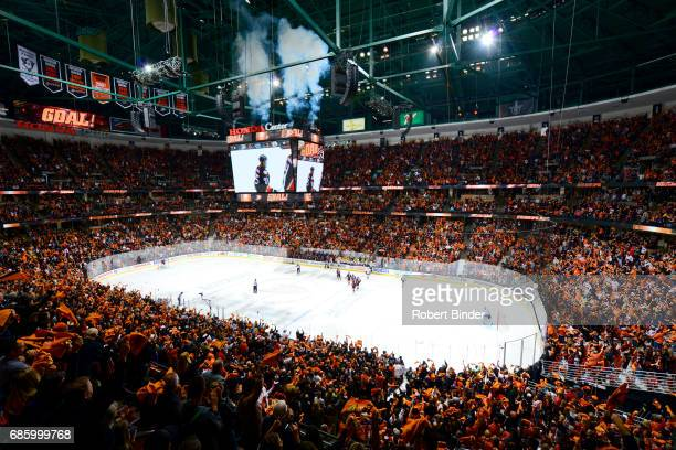 Anaheim Ducks fans cheer following a goal against the Nashville Predators in Game Two of the Western Conference Final during the 2017 NHL Stanley Cup...