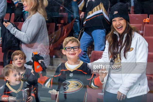 Anaheim Ducks fans smile after defeating the New Jersey Devils 42 during the game at Honda Center on March 18 2018 in Anaheim California