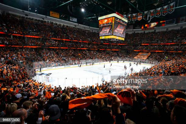 Anaheim Ducks fans wave playoff towels prior to Game Two of the Western Conference First Round against the San Jose Sharks during the 2018 NHL...