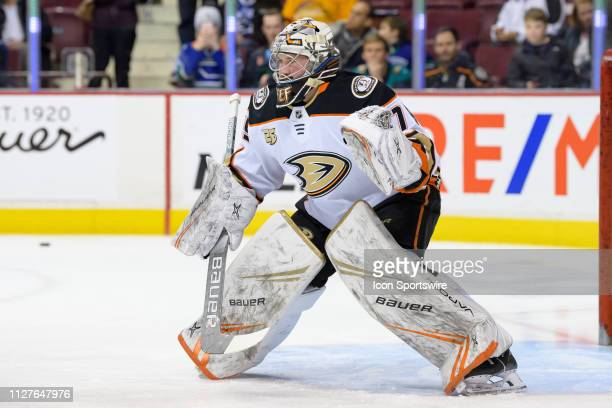 Anaheim Ducks Goalie Angus Redmond warms up prior to their NHL game against the Vancouver Canucks at Rogers Arena on February 25 2019 in Vancouver...