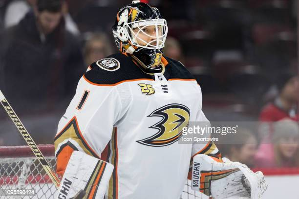 Anaheim Ducks Goalie Chad Johnson during warmup before National Hockey League action between the Anaheim Ducks and Ottawa Senators on February 7 at...