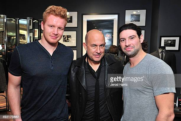 Anaheim Ducks goalie Frederik Andersen John Varvatos and Anaheim Ducks center Nate Thompson attend John Varvatos Costa Mesa 10 Year Anniversary...