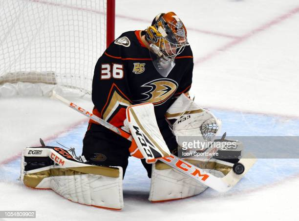 Anaheim Ducks goalie John Gibson blocks a shot in the second period of a game against the San Jose Sharks played on October 28 2018 at the Honda...