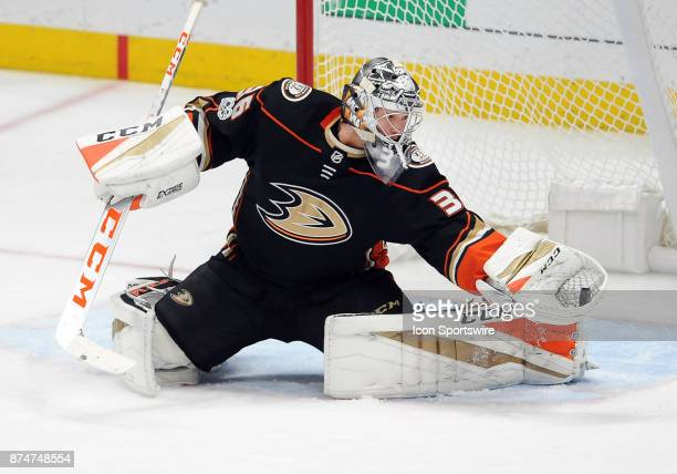 Anaheim Ducks goalie John Gibson catches the puck in the second period of a game against the Boston Bruins on November 15 played at the Honda Center...