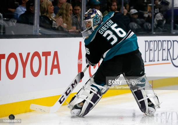 Anaheim Ducks goalie John Gibson clears the puck during the game against the Los Angeles Kings on November 06 at Staples Center in Los Angeles CA