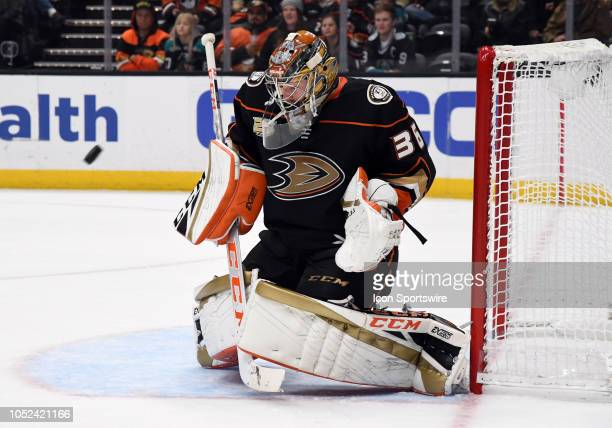 Anaheim Ducks goalie John Gibson gets in front of a shot during the second period of a game against the New York Islanders played on October 17 2018...