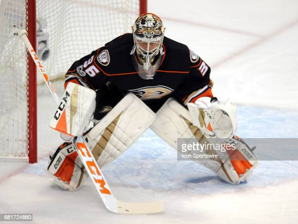 Anaheim Ducks goalie John Gibson in action during the first period of game 7 of the second round of the 2017 NHL Stanley Cup Playoffs played against...