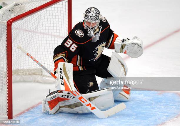 Anaheim Ducks goalie John Gibson in action during the first period of an NHL preseason game against the San Jose Sharks on September 28 played at the...