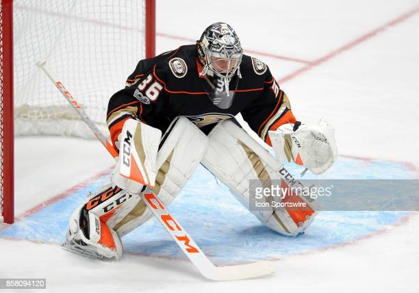 Anaheim Ducks goalie John Gibson in action during the first period of a game against the Arizona Coyotes on October 5 played at the Honda Center in...