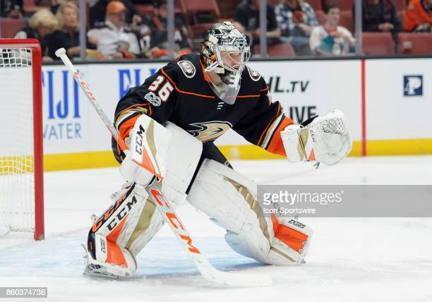 Anaheim Ducks goalie John Gibson in action during the first period of a game against the New York Islanders on October 11 played at the Honda Center...