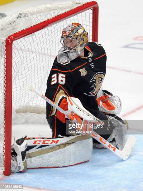 Anaheim Ducks goalie John Gibson in action during the second period of a game against the Pittsburgh Penguins played on January 11 2019 at the Honda...