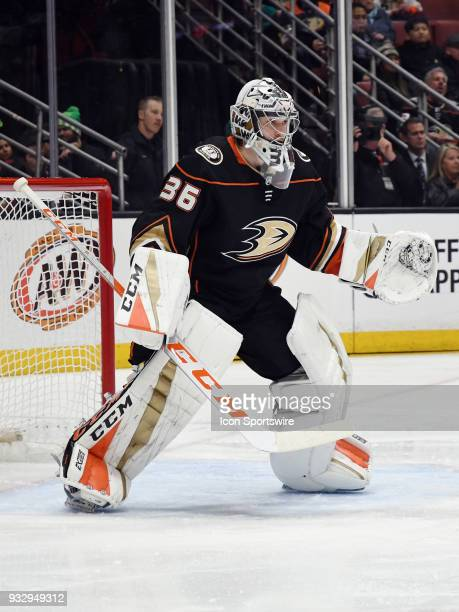 Anaheim Ducks goalie John Gibson in action during the second period of a game against the Detroit Red Wings played on March 16 2018 at the Honda...