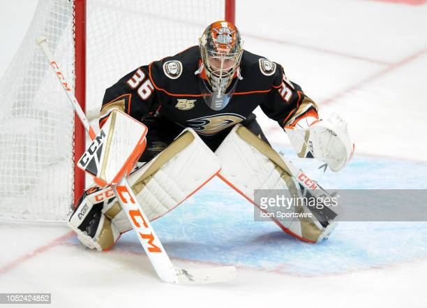 Anaheim Ducks goalie John Gibson in action during the third period of a game against the New York Islanders played on October 17 2018 at the Honda...
