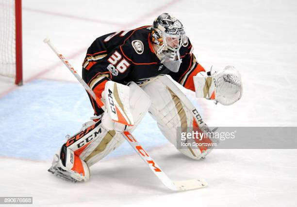 Anaheim Ducks goalie John Gibson in action in the second period of a game against the Carolina Hurricanes on December 11 played at the Honda Center...