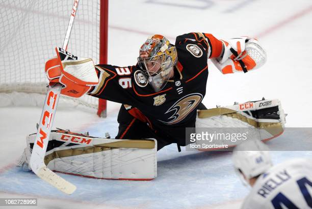 Anaheim Ducks goalie John Gibson is unable to stop a game winning shot by Toronto Maple Leafs defenseman Morgan Rielly in an overtime period of a...