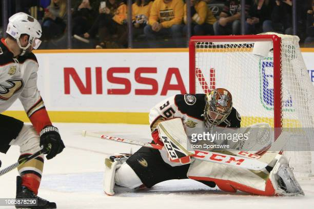 Anaheim Ducks goalie John Gibson makes a save during the NHL game between the Nashville Predators and Anaheim Ducks held on November 25 at...