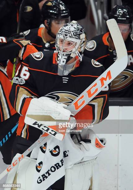Anaheim Ducks goalie John Gibson on the ice during a break in the action of the first period of a game against the Arizona Coyotes on October 5...